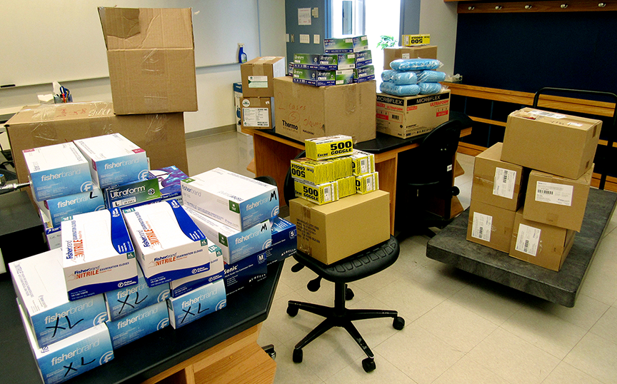 Researchers across the Eberly College of Arts and Sciences at West Virginia University have moved quickly to donate personal protective equipment from their laboratories to healthcare workers on the front lines of the COVID-19 pandemic.